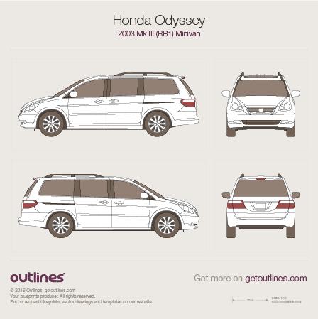 2003 Honda Odyssey RB1 Minivan blueprints and drawings