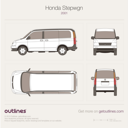 2001 - 2003 Honda Stepwgn II Minivan drawings