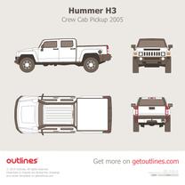2005 Hummer H3T Crew Cab Pickup Truck blueprint