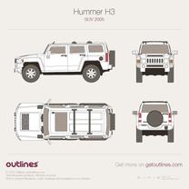2005 Hummer H3 SUV blueprint