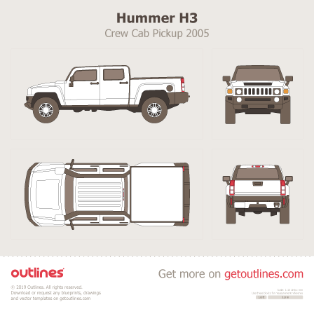 2005 Hummer H3T Pickup Truck blueprints and drawings