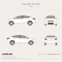 2010 Hyundai i25 Accent Sedan blueprint