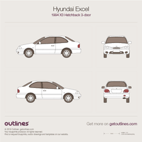 1994 Hyundai Excel X3 3-doors Hatchback blueprint