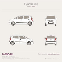 2008 Hyundai i10 5-doors Hatchback blueprint