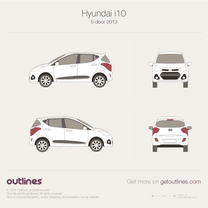2013 Hyundai i10 II 5-doors Hatchback blueprint