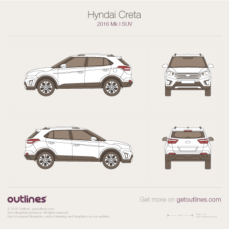 2016 Hyundai Creta SUV blueprint