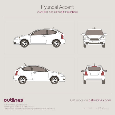 2006 Hyundai Accent III 3-doors Facelift Hatchback blueprint