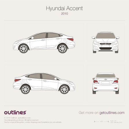 2010 Hyundai Accent Blue Sedan blueprint