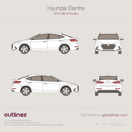 2015 Hyundai Elantra VI Sedan blueprint