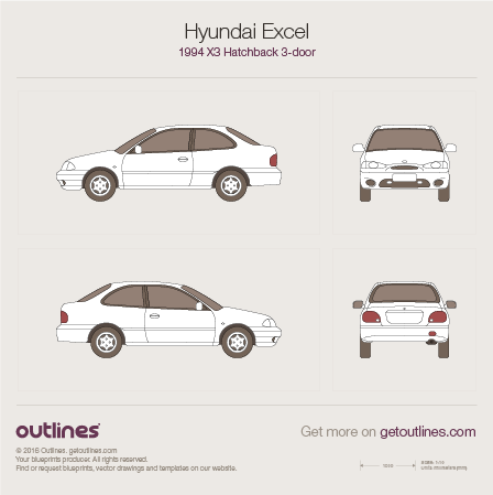 1994 Hyundai Excel X3 Hatchback blueprints and drawings