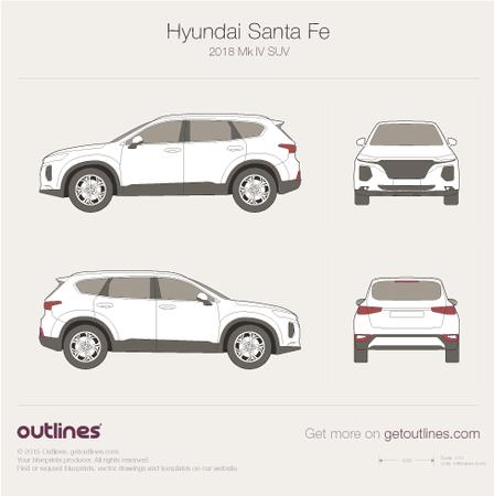 2018 Hyundai Santa Fe Mk IV SUV blueprint