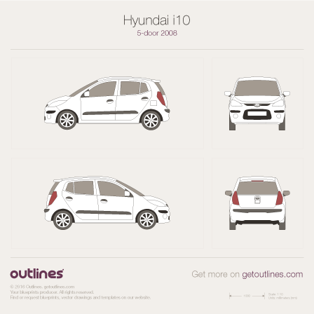 2008 Hyundai i10 Hatchback blueprints and drawings