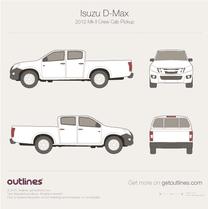 2012 Isuzu D-Max Crew Cab Pickup Truck blueprint