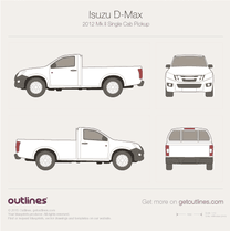 2012 Isuzu D-Max Single Cab Pickup Truck blueprint