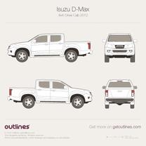 2012 Isuzu D-Max 4x4 Crew Cab Pickup Truck blueprint