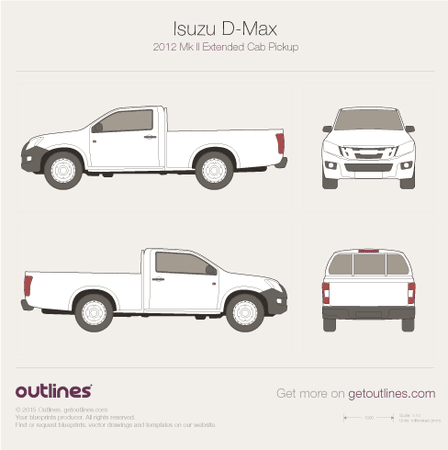 2012 Isuzu D-Max Pickup Truck blueprints and drawings