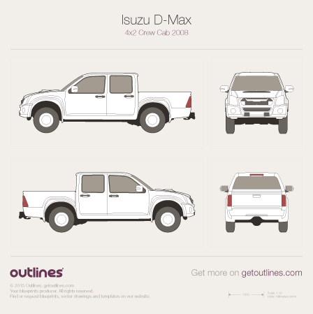 2008 Isuzu D-Max Crew Cab Facelift Pickup Truck blueprint
