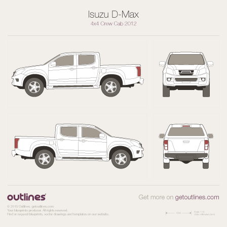 2012 Isuzu D-Max 4x4 Pickup Truck blueprints and drawings