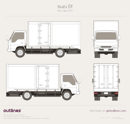 2015 Isuzu N-Series Box Cab Heavy Truck blueprint