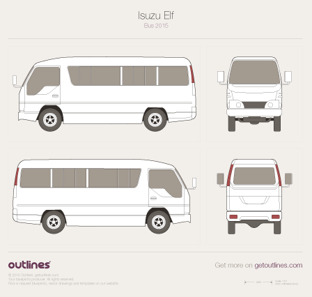 2015 Isuzu Elf Passenger Bus blueprints and drawings