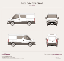 2014 Iveco Daily Semi-Glazed Van L1 H1 Van blueprint