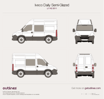 2011 Iveco Daily Semi-Glazed Van L1 H2 Van blueprint