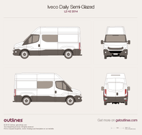 2014 Iveco Daily Semi-Glazed Van L2 H2 Van blueprint