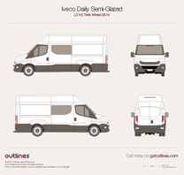 2014 Iveco Daily Semi-Glazed Van L2 H2 Twin Wheel Van blueprint