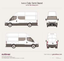 2014 Iveco Daily Semi-Glazed Van L2 H3 Twin Wheel Van blueprint