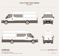 2014 Iveco Daily Semi-Glazed Van L3 H2 Van blueprint