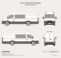 2011 Iveco Daily Semi-Glazed Van L3 H2 Twin Wheel Van blueprint