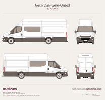 2014 Iveco Daily Semi-Glazed Van L3 H3 Van blueprint