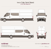 2014 Iveco Daily Semi-Glazed Van L3 H3 Twin Wheel Van blueprint