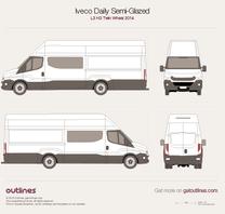 2014 Iveco Daily Semi-Glazed Van L3 H3 Twin Wheel Van blueprint
