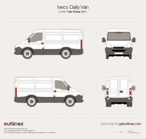 2011 Iveco Daily Van L1 H1 Twin Wheel Van blueprint