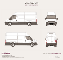 2014 Iveco Daily Van L2 H2 Twin Wheel Van blueprint