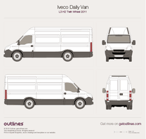 2011 Iveco Daily Van L3 H2 Twin Wheel Van blueprint