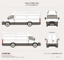 2011 Iveco Daily Van L3 H3 Twin Wheel Van blueprint
