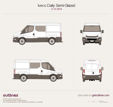 2014 Iveco Daily Semi-Glazed Van L1 H1 Van blueprint
