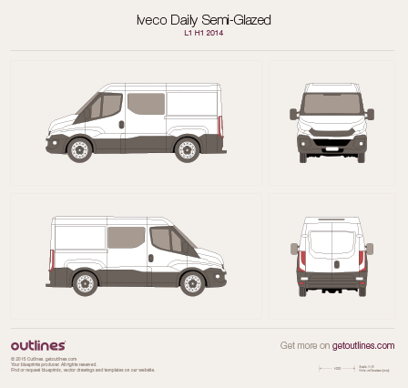 2014 Iveco Daily Semi-Glazed Van Van blueprints and drawings
