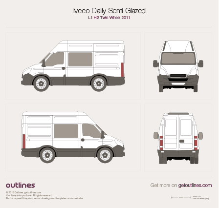 2011 Iveco Daily Semi-Glazed Van L1 H2 Twin Wheel Van blueprint