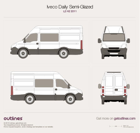 2011 Iveco Daily Semi-Glazed Van L2 H2 Van blueprint