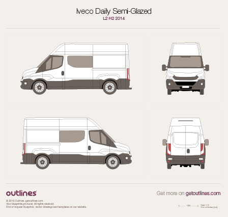 2014 Iveco Daily Semi-Glazed Van Van blueprints and drawings