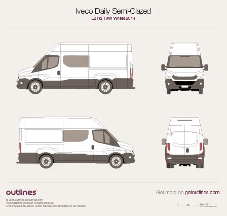 2014 Iveco Daily Semi-Glazed Van L2 H2 Twin Wheel Van blueprint