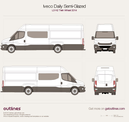 2014 Iveco Daily Semi-Glazed Van L3 H2 Twin Wheel Van blueprint