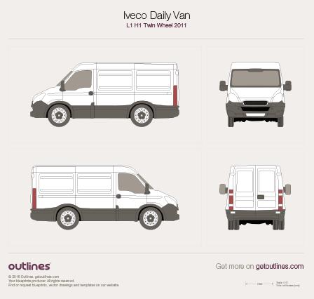 2011 Iveco Daily Van L1 H1 Twin Wheel Van blueprint