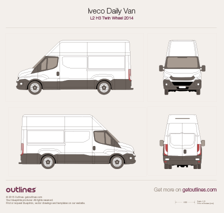 2014 Iveco Daily Van L2 H3 Twin Wheel Van blueprint