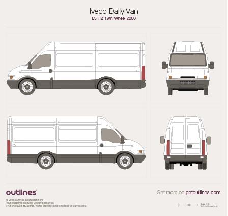 2000 Iveco Daily Van L3 H2 Twin Wheel Van blueprint