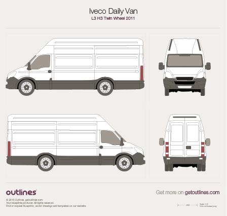 2011 Iveco Daily Van L3 H3 Twin Wheel Van blueprint