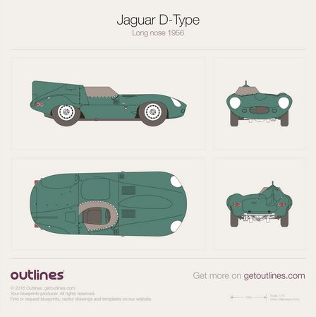1954 Jaguar D-Type Long nose Formula blueprint